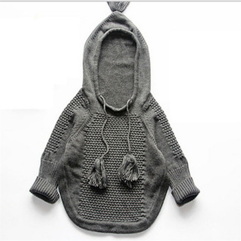 Knitted boys girls sweaters pullovers poncho cloak street fashion korean 2015 Autumn winter conventional long knitting mantle