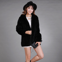 Winter Ladies' Genuine Real Knitted Mink Fur Coat Jacket with Hoody Women Fur Outerwear Coats Size L to 6XL Plus Size(China (Mainland))