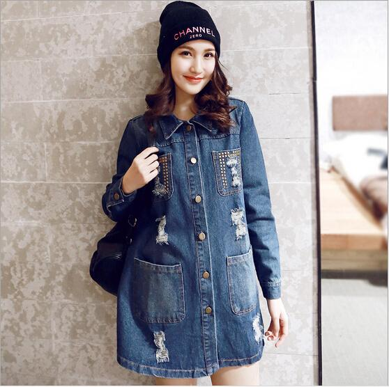 autumn new plus size loose fashion hole denim coats women long sections Rivet pockets all-match trench female high quality S751Одежда и ак�е��уары<br><br><br>Aliexpress