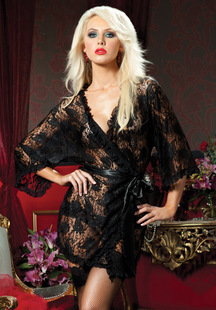 Black sexy negligee free size, Lace netting floral nightgown kimonos with waist band, Hot open crotch lingerie for women(China (Mainland))