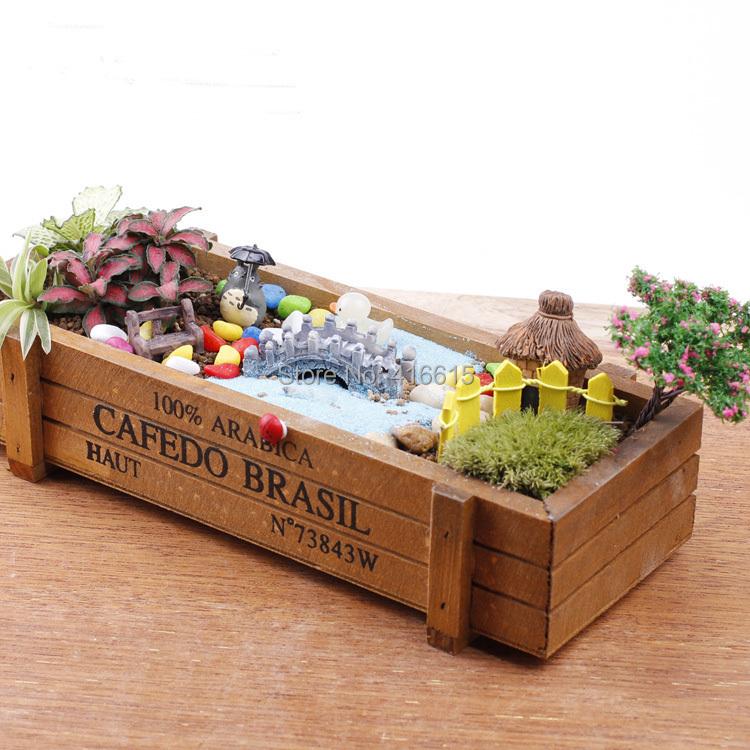 Vintage Wooden Jewelry Storage Box Desktop Cosmetic Box Flower Gardening Succulents pots(China (Mainland))