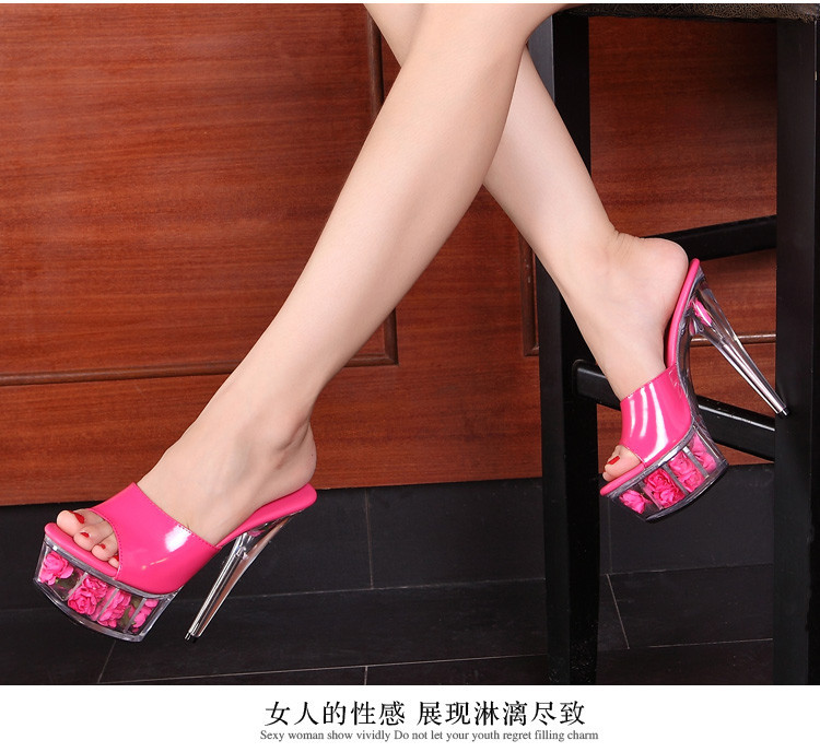 2015 Multicolor Rose Waterproof Sexy Wedding Shoes High-heeled Sandals Nightclub Sandals slippers Shoes Women Plus-size 33-43