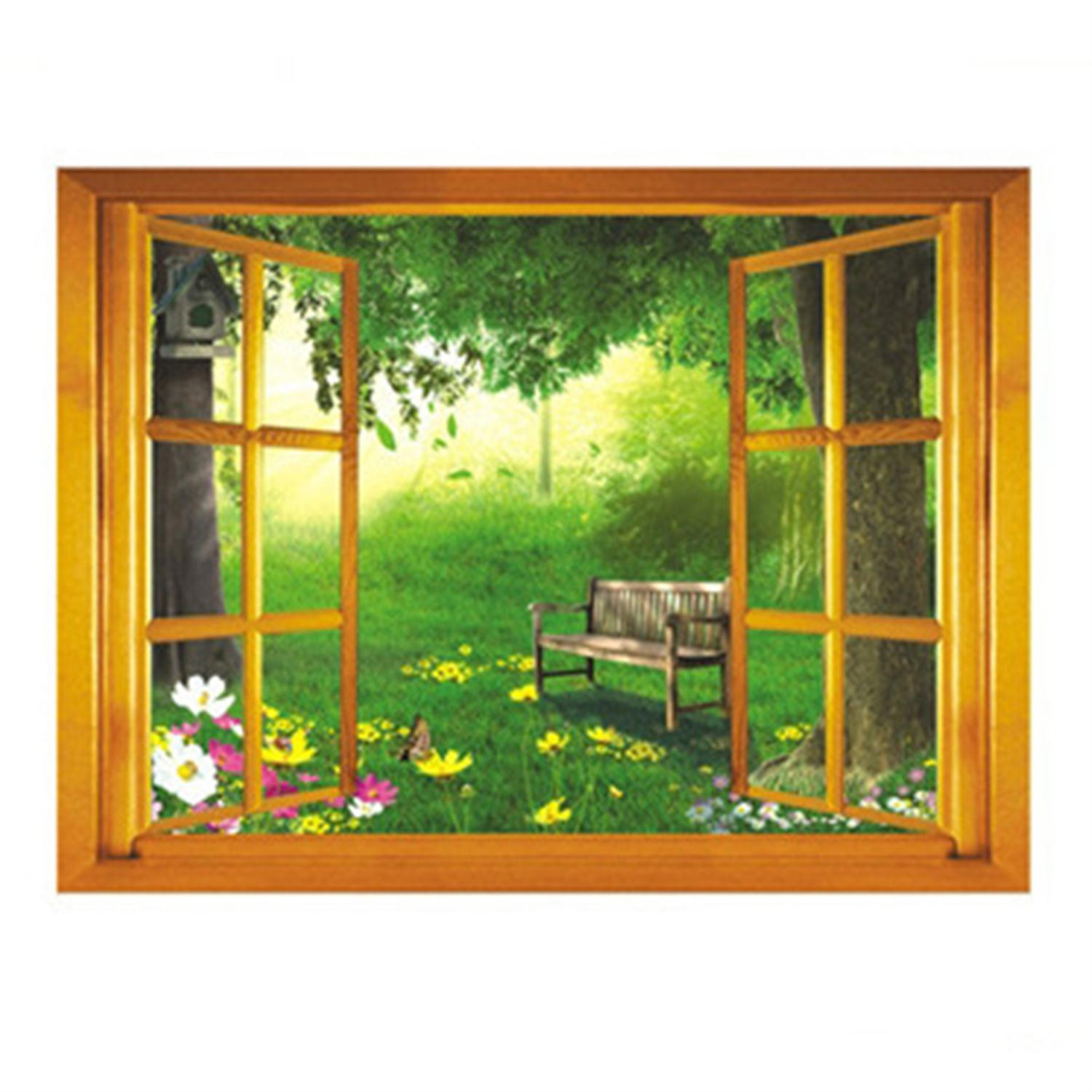 Fantastic Green Wonderland Nature Landscape 3D Wall Stickers Removable Creative Window Wall Sticker For Home Decoration Decals(China (Mainland))