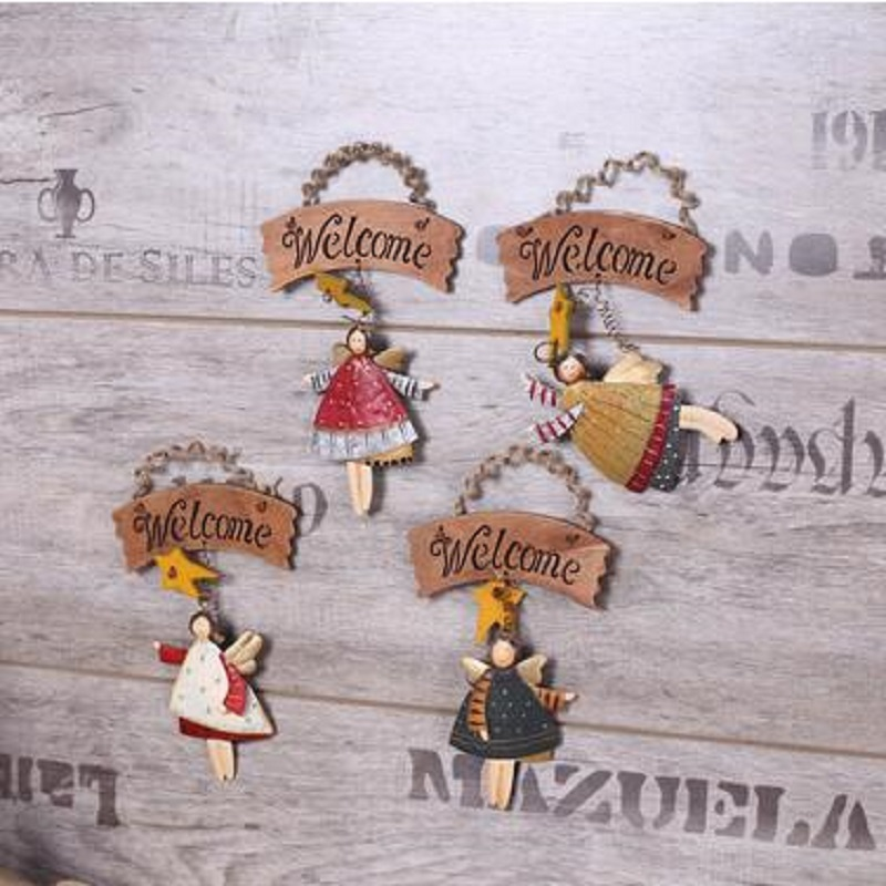 American country metal processing wood retro cute angel ornaments foyer listing welcome home fashion store cafe signs listed(China (Mainland))