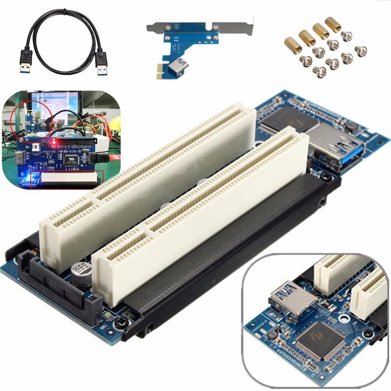 PCIe x1 x4 x8 x16 слотов Dual PCI адаптер pci express 2 pci карта С USB 3.0 Extender Кабель для serial parallel звуковая карта(China (Mainland))