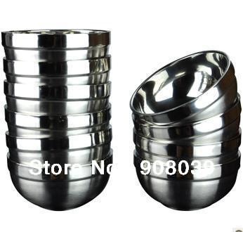 Free Shipping Dinnerware Set Rice Bowl High Quality Tableware Heat Insulation Durable Stainless steel Bowls(China (Mainland))