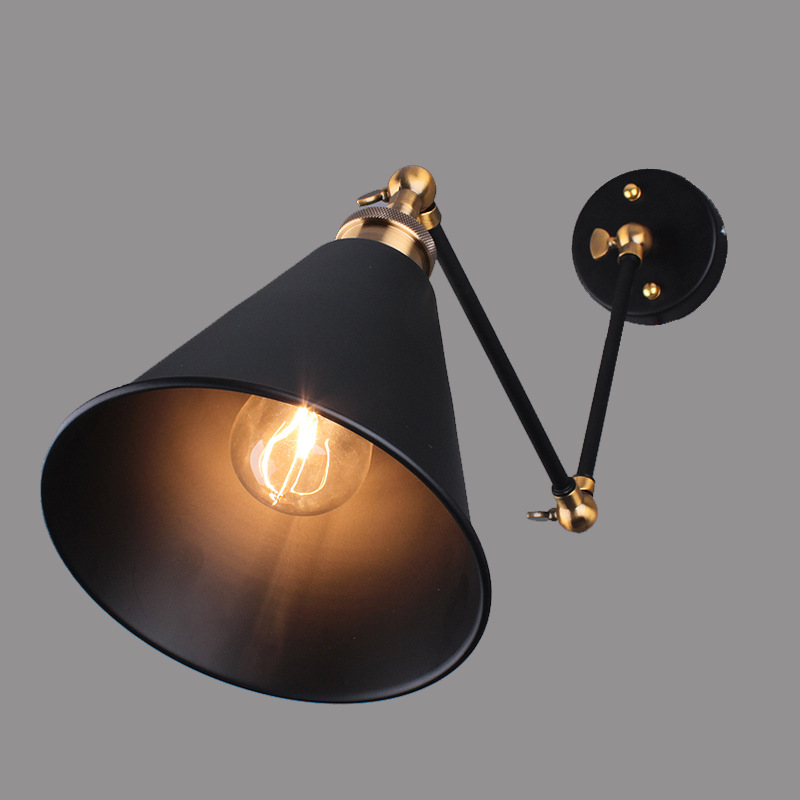 Art Deco Vintage Small Black Umbrella Lampshade Household Adjustable Wall Lights lamp Cafe Reading Room Lamp<br><br>Aliexpress