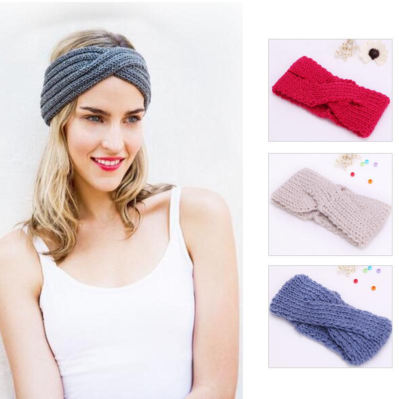 2016 Beauty Fashion 12 Colors Flower Crochet Knit Knitted Headwrap Headband Ear Warmer Hair Muffs Band WinterFD051(China (Mainland))