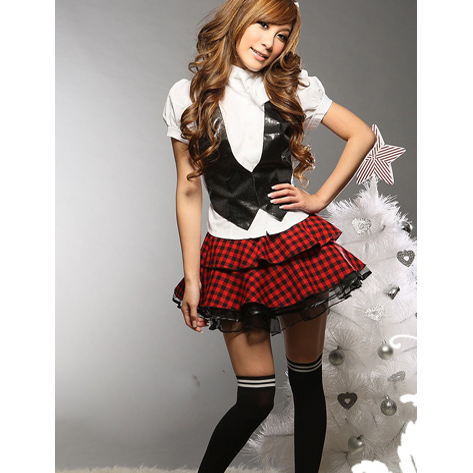 Sexy Schoolgirl Costume princess anna carnival costumes includes White shirt, Vest Top, Tie, and Pleated Red Plaid Skirt(China (Mainland))