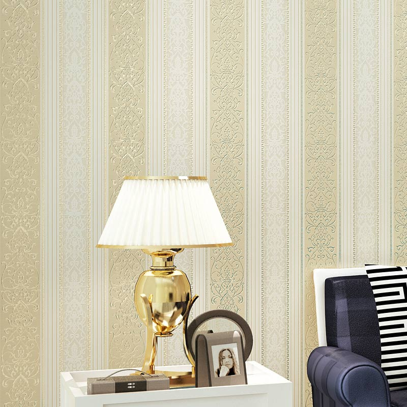 Europe Striped Non-woven Wallpaper Flowers Background Wallpaper Bedroom Living Room TV Restaurant Vertical stripe Wall Coverings(China (Mainland))