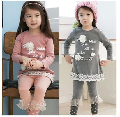 new 2014 autumn spring baby girls clothing set kids long sleeve cute tops t-shirt + casual pants for children pink gray(China (Mainland))