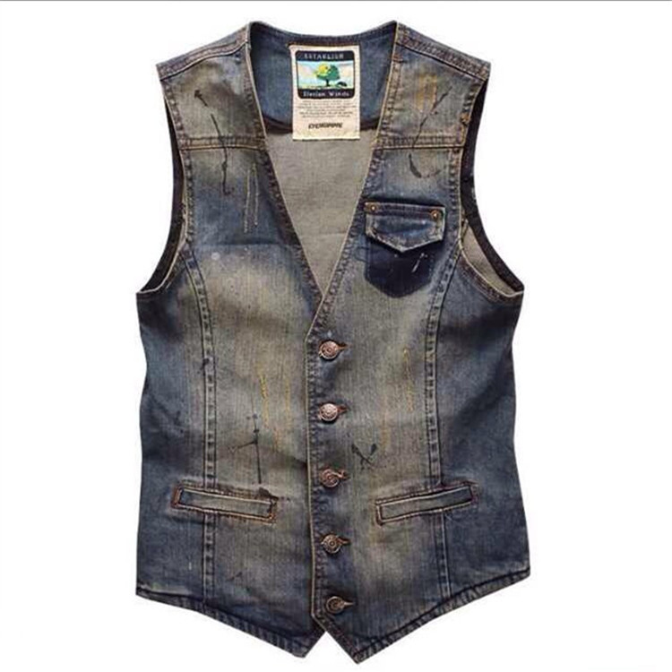 Hot Sale 2015 Men's Denim Vest Men Slim Fashion Denim Vest Waistcoat Jacket Trend High Quality Casual Vest Free Shipping(China (Mainland))