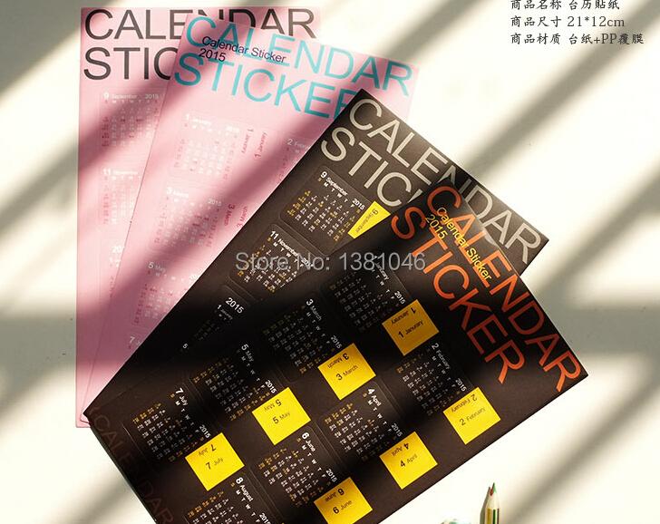 Calendar Sticker 2015 Diary Planner Notebook Journal Mini Supplement For SCRAPBOOKING/CARDS(China (Mainland))