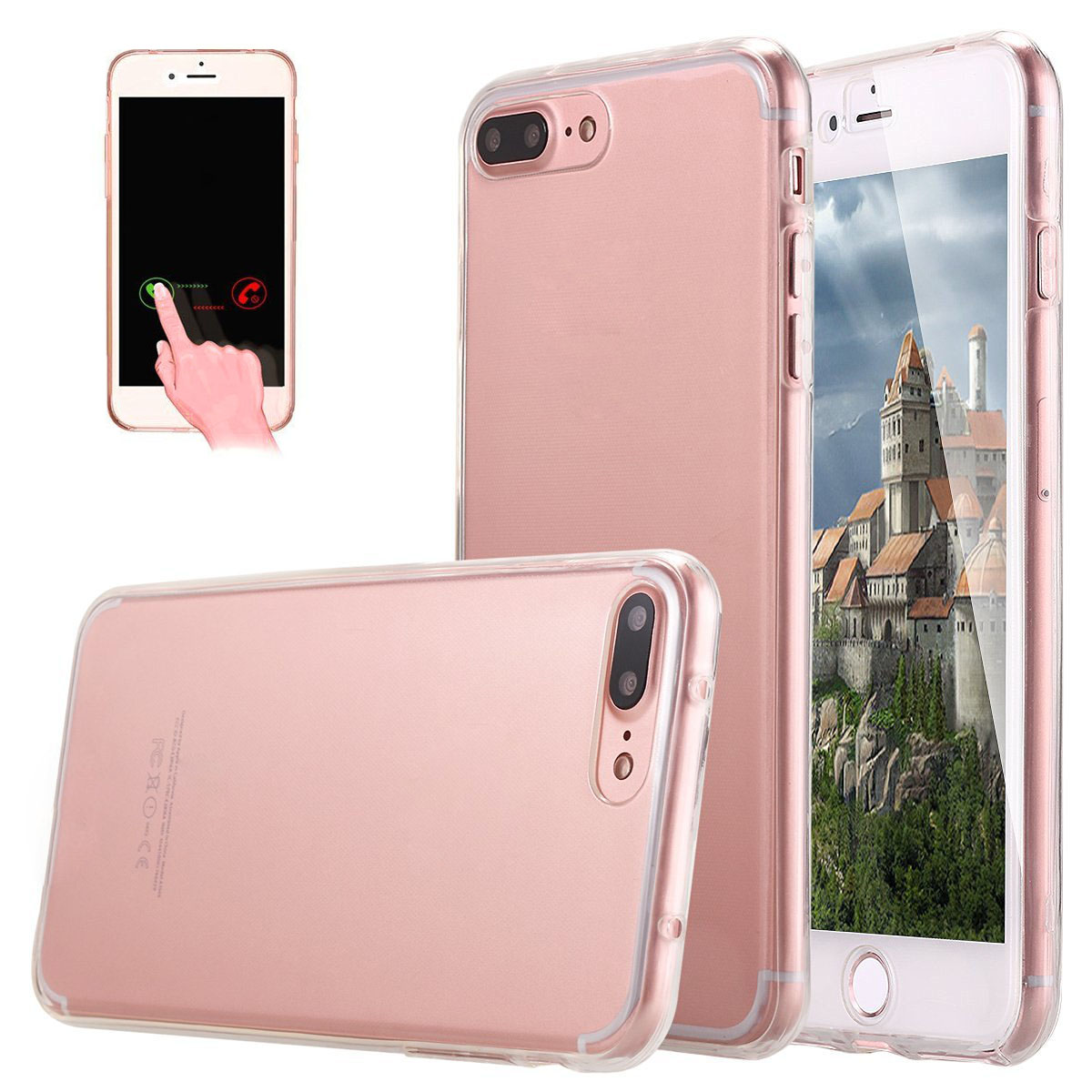 360 Degree Full Protection Clear Silicone Case For iPhone 7 7Plus Ultra thin Front Back Transparent Soft TPU Cover Touch Screen(China (Mainland))