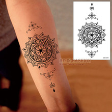 1piece Waterproof Temporary Tattoo Stickers Men Women big Scar Cover Flash Tatoo Compass Design black Henna Tattoos arm QS-C006(China (Mainland))
