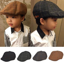 2016 Spring Autumn Style Children Hats Baby Cap Berets Fashion Plaid Caps Baby Boy Hat Beret Boinas Flat Cap for Kids 1-3 Years(China (Mainland))