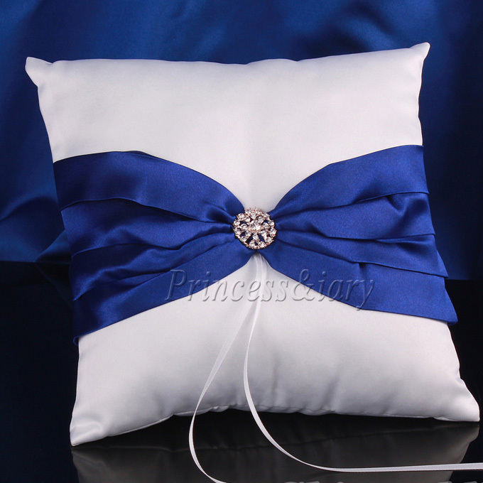 5Pcs set Dark Blue Satin Bow Wedding Ceremoney Guest Book Pen Ring Pillow Flower Basket