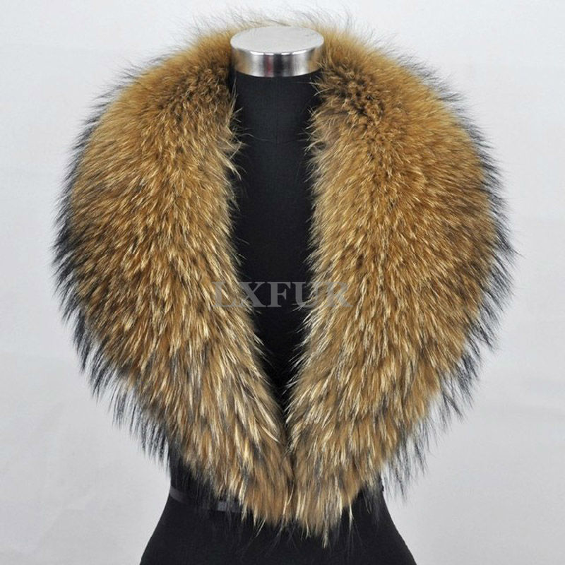 Graceful Whole Hide Genuine Raccoon Fur Scarf Wrap Womens Callar Fashion Winter Warm LX00298 - LuxuryFur store