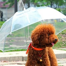 Transparent PE Pet Umbrella Small Dog Umbrella Rain Gear with Dog Leads Keeps Pet Dry Comfortable in Rain Snowing E#CH(China (Mainland))