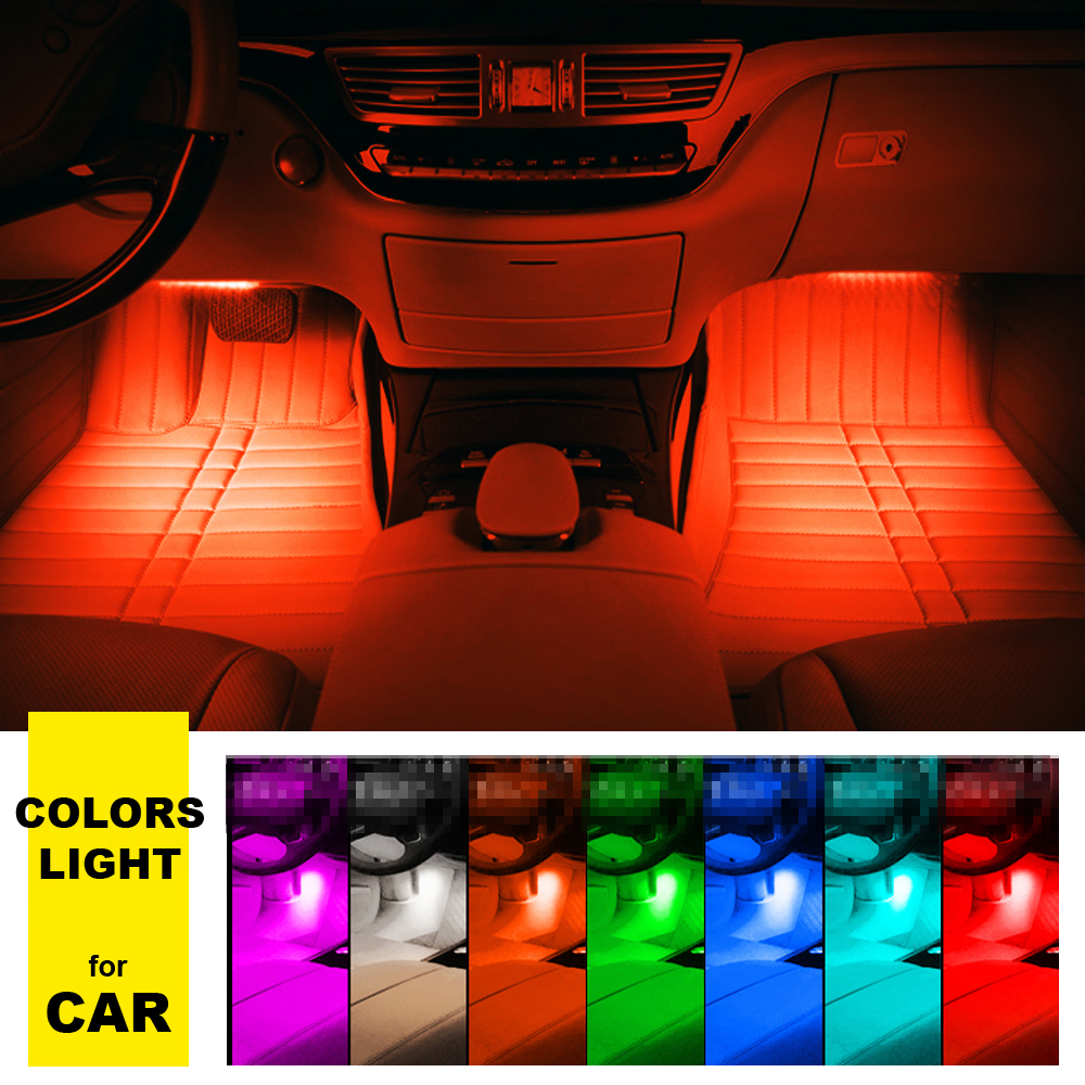4 9 led car light interior atmosphere suv floor strip lamp remote music control car. Black Bedroom Furniture Sets. Home Design Ideas