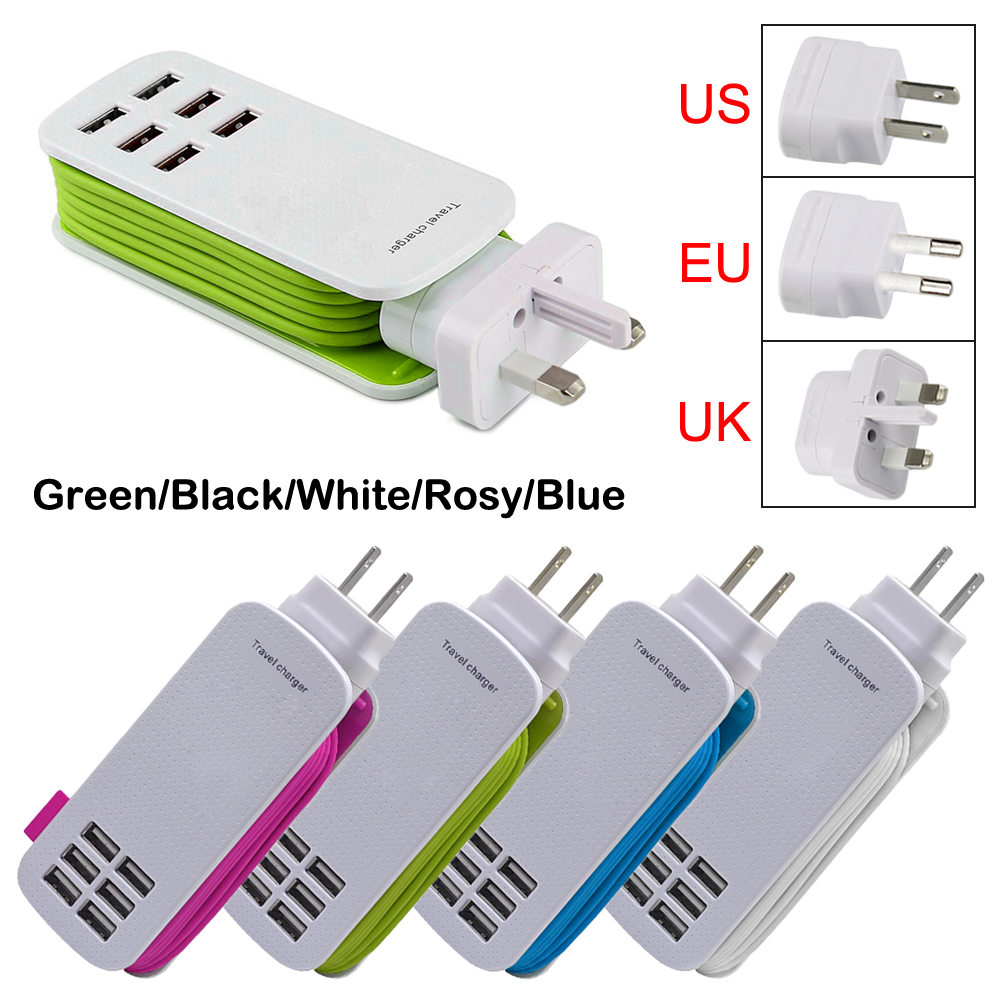 Universal 6 Way Multi USB Mobile Phone Hub charger Extension cord desktop stand wall powerful cabled adapter us/eu/uk(China (Mainland))
