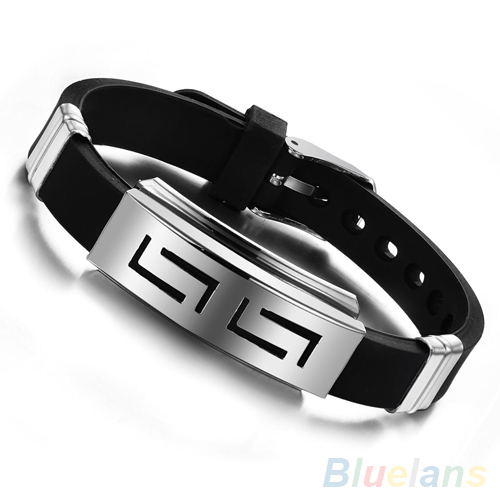 Men s Black Punk Rubber Stainless Steel Wristband Clasp Cuff Bangle Bracelet 28SX