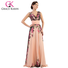 Grace Karin Sexy Elegant Backless Flower Floral Long Evening Dress Pattern Formal Dresses Chiffon Gown robe de soiree CL7502(China (Mainland))