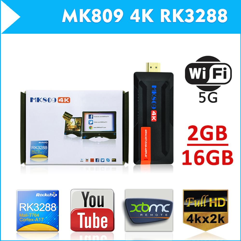 MK809 4K Ultra HD TV Stick Dongle RK3288 2GB 16GB HDMI USB Mini PC Android 4.4 Streaming Media Player Supports WiFi Bluetooth(China (Mainland))