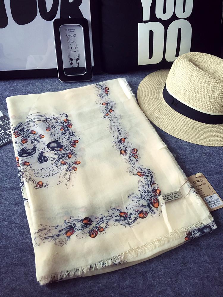 Export skull cotton oversized scarf shawl dual air conditioning sunscreen long scarf-----JOLINA SHOP(China (Mainland))