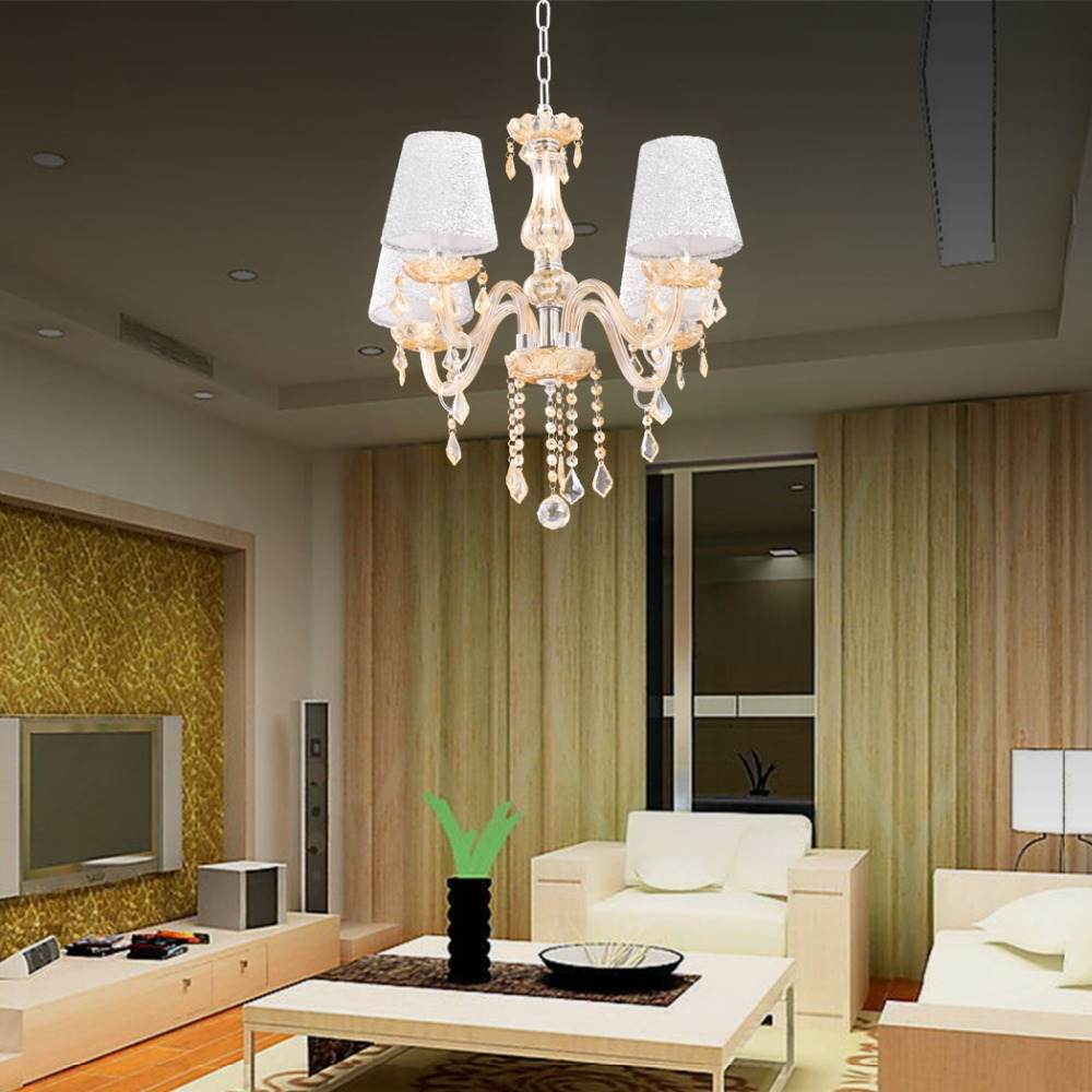 Modern Amber Crystal Lights Crystal Chandeliers Pendant Lamp Dining Room Livi