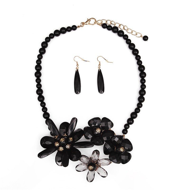 2016 Style fashion Chain Choker Bib Collar Acrylic Flower Statement Necklace jewelry women Vintage necklaces & pendants Hot