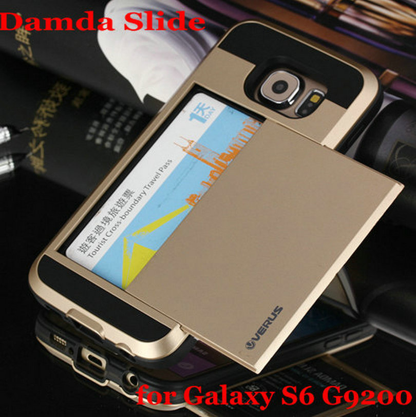 2015 New Verus Damda Slide Armor Cases With Card Storage  For Samsung Galaxy S6 G9200 Tough Armor Cover Wholesale(China (Mainland))