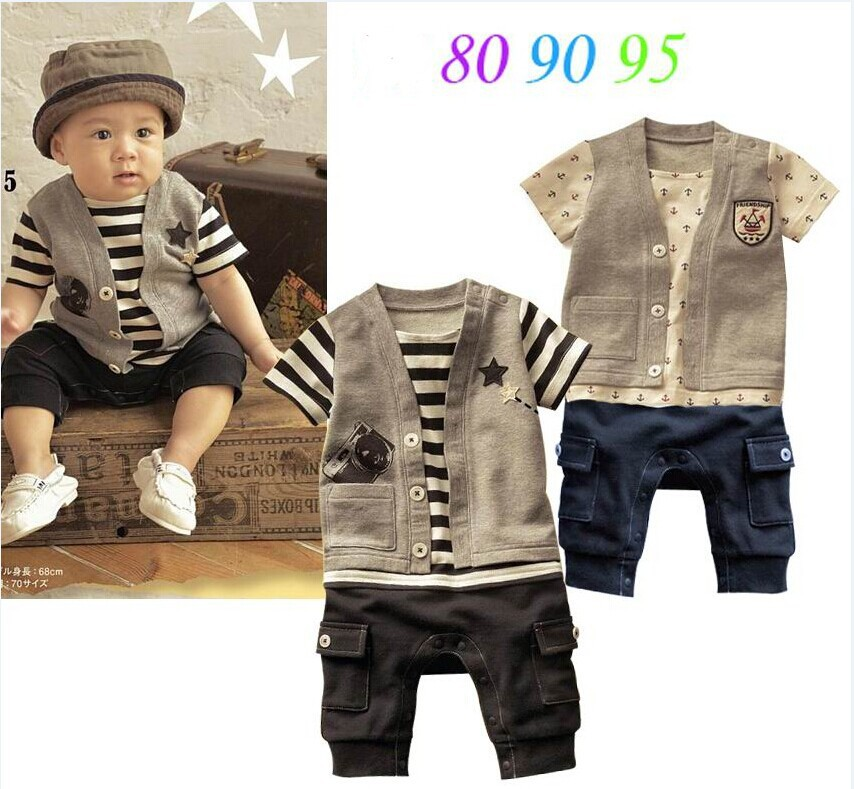 2015 Free Shipping Retail Baby Boys Romper/baby Clothing Striped Baby Sport Jumpsuit Kids ...