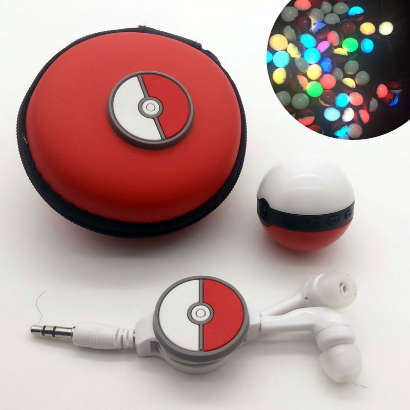 2017 Mini Magic Pokeball MP3 Player Hot Colorful Sport mp3 Players Come Earphone, USB Cable, Retail Box, Support Micro SD
