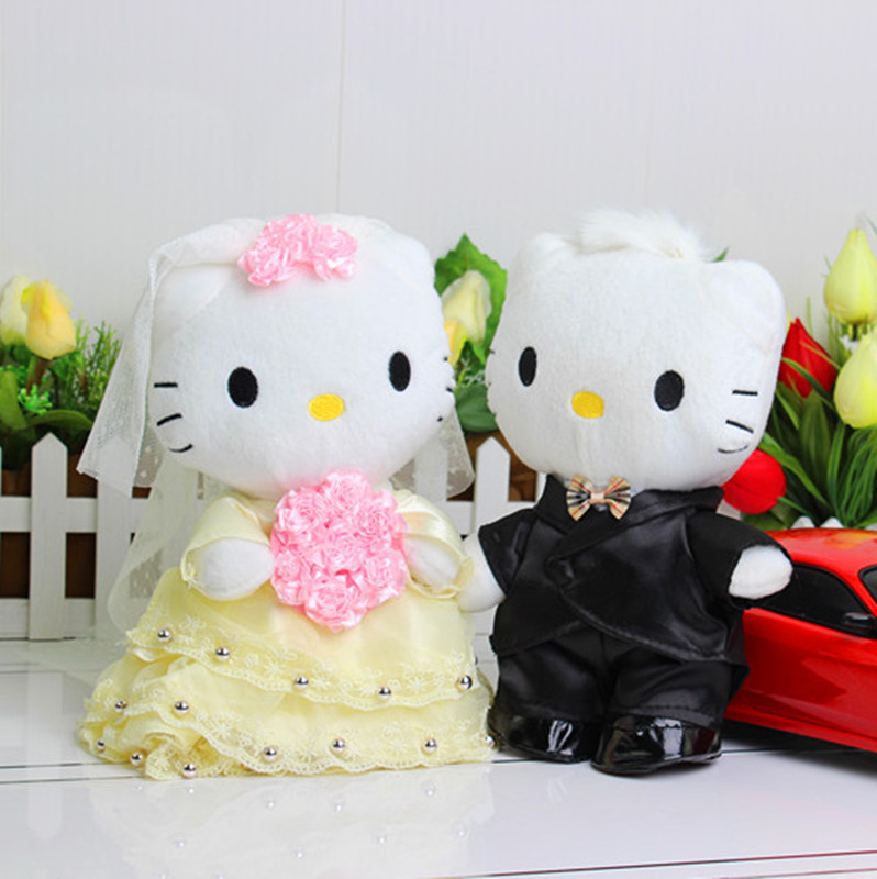 HELLO KITTY occasion plush toy doll 20cm 2pcs / lot KT couple wedding floats easily bear doll one pair of front doll(China (Mainland))