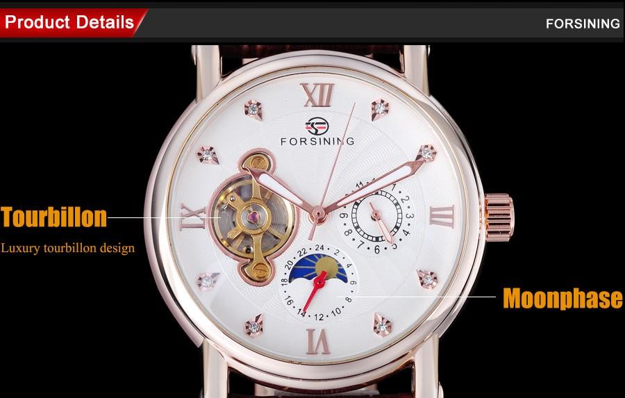Мужчины Часы 2016 FORSINING авто Механические Люксовый бренд розовое золото номер часы moon phase дисплей турбийон наручные часы A818
