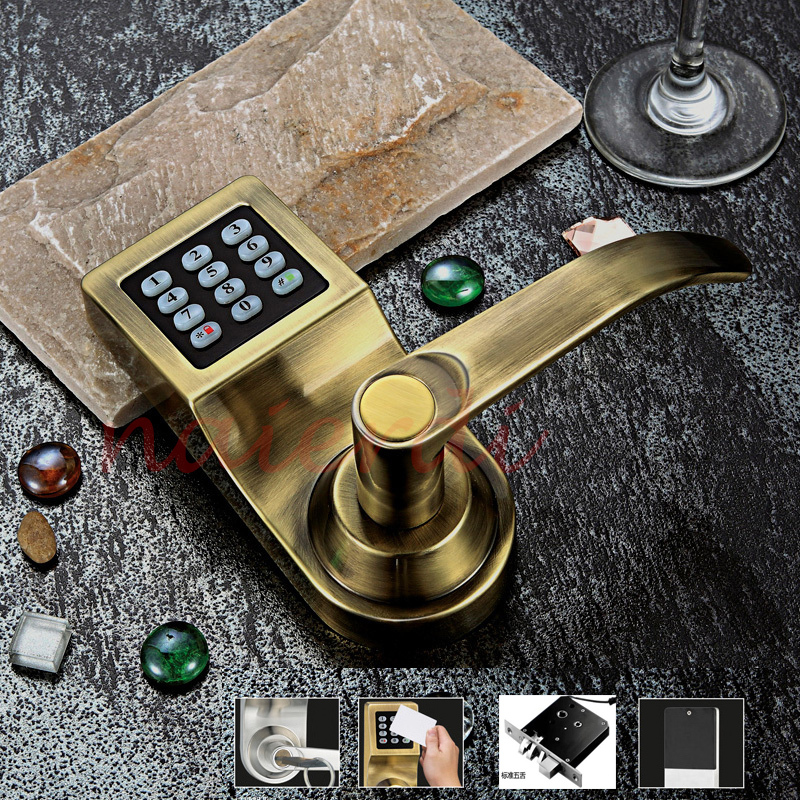 NED Bronze Hot Sale Electronic Induction Smart Digit Code Keypad Entry Door Lock With ID Reader Right Handle And Card Unlock(China (Mainland))