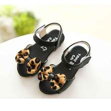 2016 New  Casual summer Girls Baby Leopard Bow Princess Shoes Kids Children Shoes sandals S1701(China (Mainland))