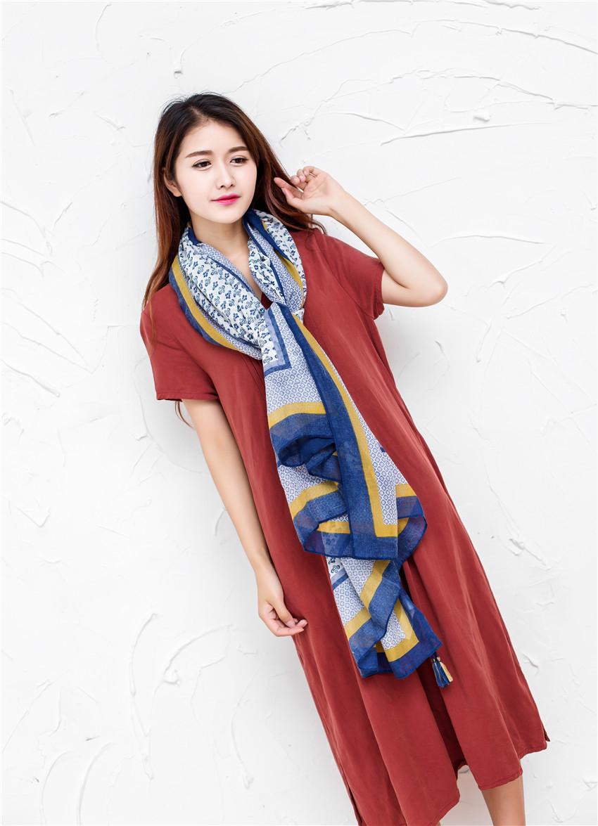 Fashion Women/Ladies Floral Scarf Spring Summer Cotton Blend Beach Shawl Wrap Foulards Femme Hijab Shawls and Scarves Echarpes(China (Mainland))