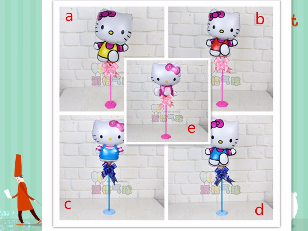 10pcs/lot Floating table foil mylar stick balloons Hello kitty with stick and cup ballons birthday baby bottle globos<br><br>Aliexpress