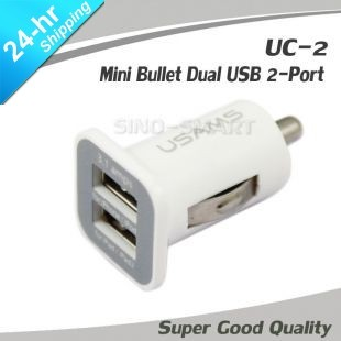 Updated Micro Bullet Dual USB port for iPhone/iPad/iPod Large capacity 3.1A car charger 10pcs/lot free shipping