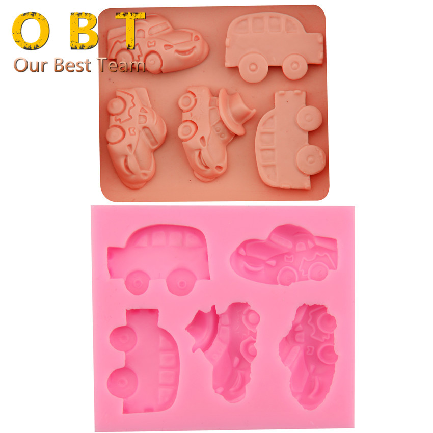 Five different Designs Baby Cute Cars Silicone Cake Mold Chocolate Cake DecoratingTools Silicone Moulds F3003(China (Mainland))