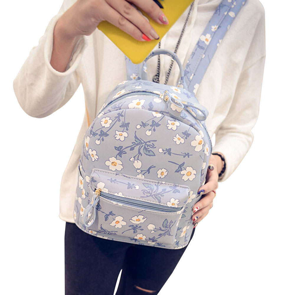 Women Backpack 2015 Hot Sale Fashion Casual High Quality Floral Printing PU Leather Backpacks For Girls Size 26*25*14cm YA0450<br><br>Aliexpress