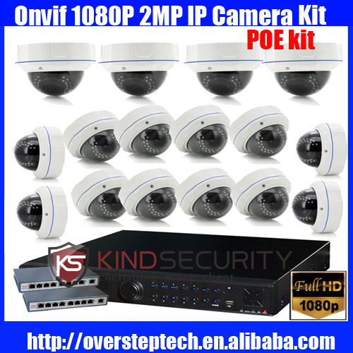 CCTV 16x 1080P 2MP IR waterproof IP Camera Surveillance 16ch NVR 3TB HDD PoE Switch Kit(China (Mainland))