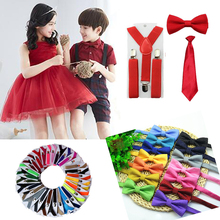 3PCS Baby Boys Supenders Kid Suspender Elastic Adjustable Y-Back Clip-on Kids Bowtie Bow Tie Kids Suspenders Set HHtr0007(China (Mainland))