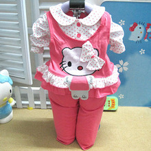 2pcs set 2015 New Baby Clothing Sets Long Sleeve Hello Kitty Carters Baby Girl Clothes Kids