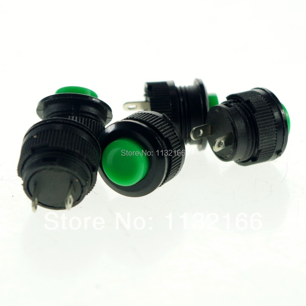 5pcs 14mm Hole Green NC 2 Pin SPST  Momentary  Push Button Switch<br><br>Aliexpress