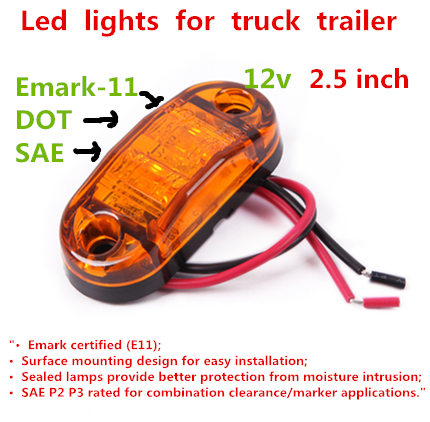 """12V 10 PCS Clear LED Amber light 2.5"""" Oval external lamp Trailer lamp Truck lights Lorry Bus lamp Marker Clearance lamp Emark(China (Mainland))"""