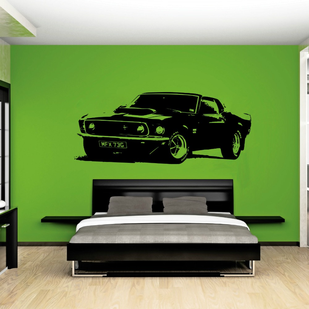 Removable Vintage XL Large Car Ford Mustang 1969 Wall Art Decal Sticker Home Decoration Art Mural Paper Car Sticker A-101(China (Mainland))