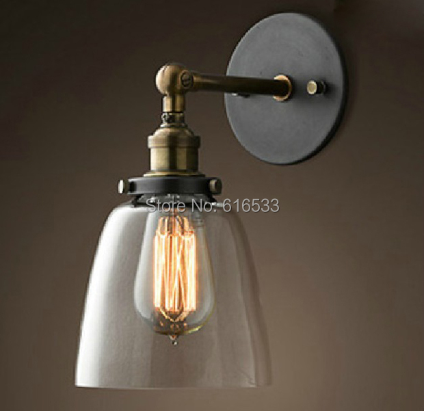 Applique Chambre Vintage : Loft American Vintage industrielle Lustre verre cuivre Edison applique …